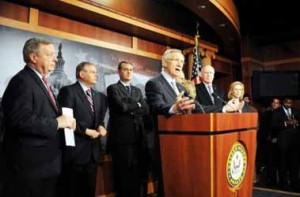 Harry Reid lider Senado, a la hora de hacer el anuncio